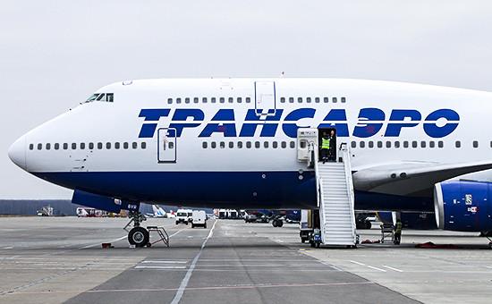 Самолет авиакомпании «Трансаэро» в аэропорту Домодедово