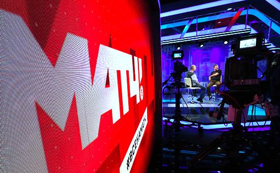На съемках передачи нателеканале «Матч ТВ» в«Останкино»