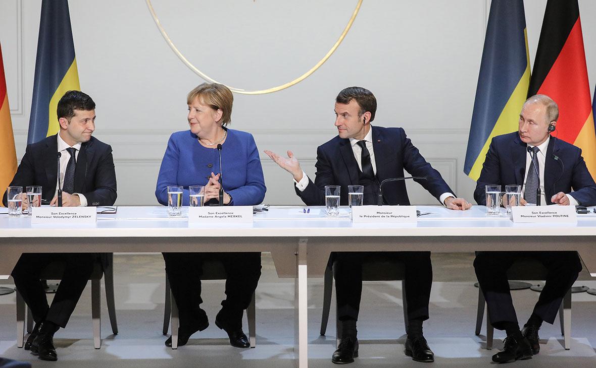 Владимир Зеленский, Ангела Меркель, Эмманюэль Макрон иВладимир Путин