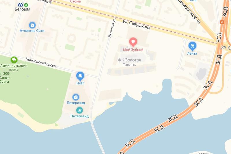 На участке, расположенном восточнее пересечения Приморского проспекта и Яхтенной улицы, девелопер планировал возвести отель