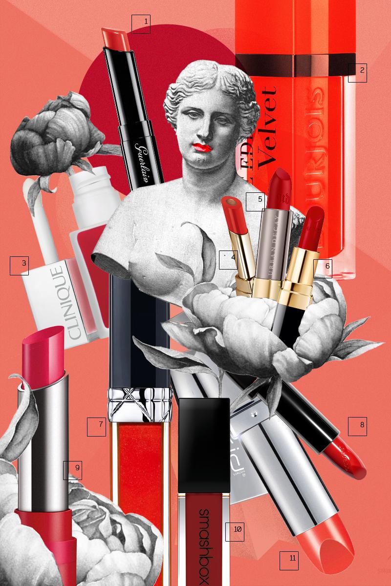 1) Помада-блеск La Petite Robe Noire (оттенок 003), Guerlain 2)Жидкая губная помада Rouge Edition Velvet (оттенок 20), Bourjois 3)Матовый лак для губ Liquid Matte Lip Colour + Primer (оттенок Flame Pop), Clinique 4)Помада Passion Duo Lipstick (оттенок 145), Dolce&Gabbana 5)Матовая помада Vice Lipstick (оттенок 714), Urban Decay 6)Помада Rouge Coco (оттенок Carmen), Chanel 7)Блеск Rouge Dior Brillant (оттенок 999), Dior 8)Помада Rouge Rouge (оттенок Poppy), Shiseido 9)Матовая помада The Only One Matte (оттенок 120), Rimmel 10)Жидкая матовая помада Always On (оттенок Disorderly), Smashbox 11)Помада с встроенными зеркалом и фонариком I-pout, (оттенок Pure Coral) New Cid
