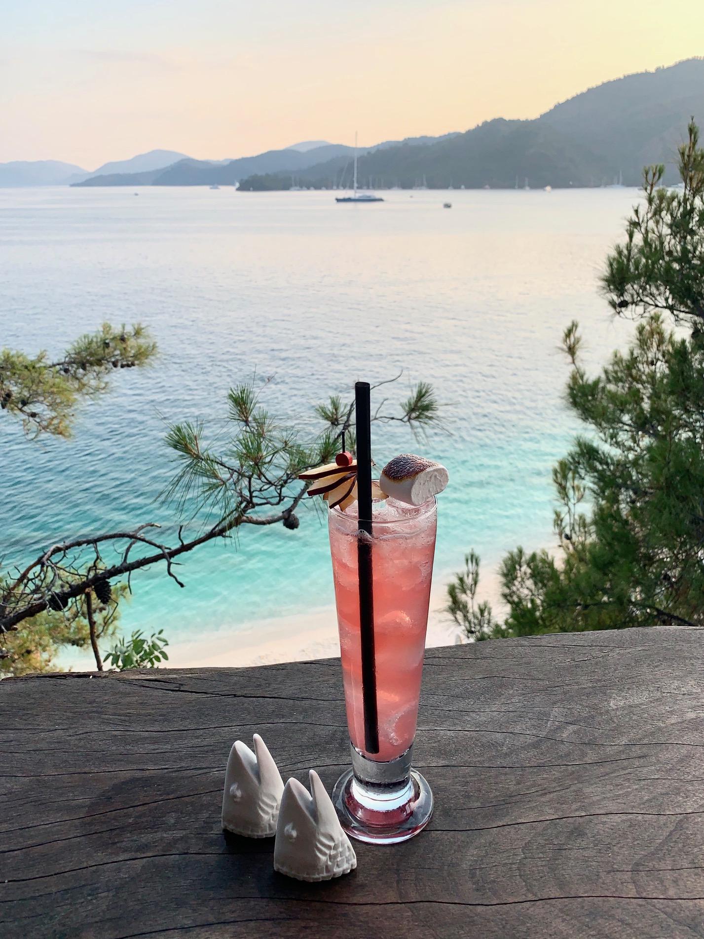 Статуэтки Hering и фирменный коктейль бара-ресторана Q Lounge в отеле D-Resort Göcek