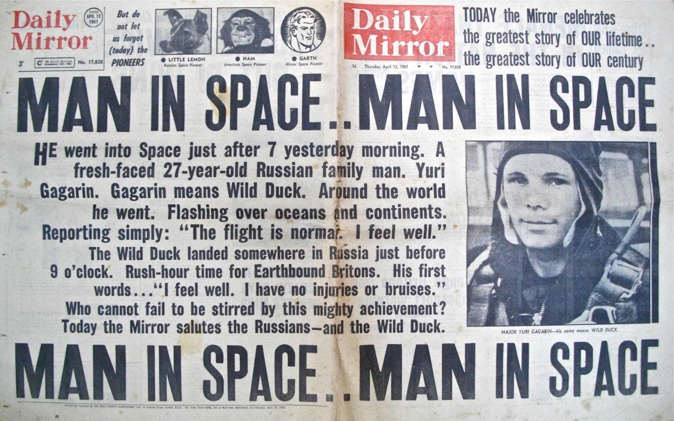 Первая полоса газеты Daily Mirror от 13 апреля 1961