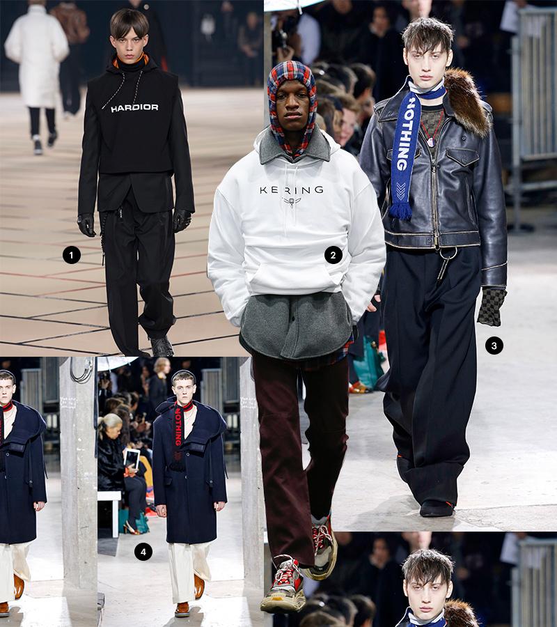 1 Dior Homme| 2 Balenciaga | 3,4 Lanvin