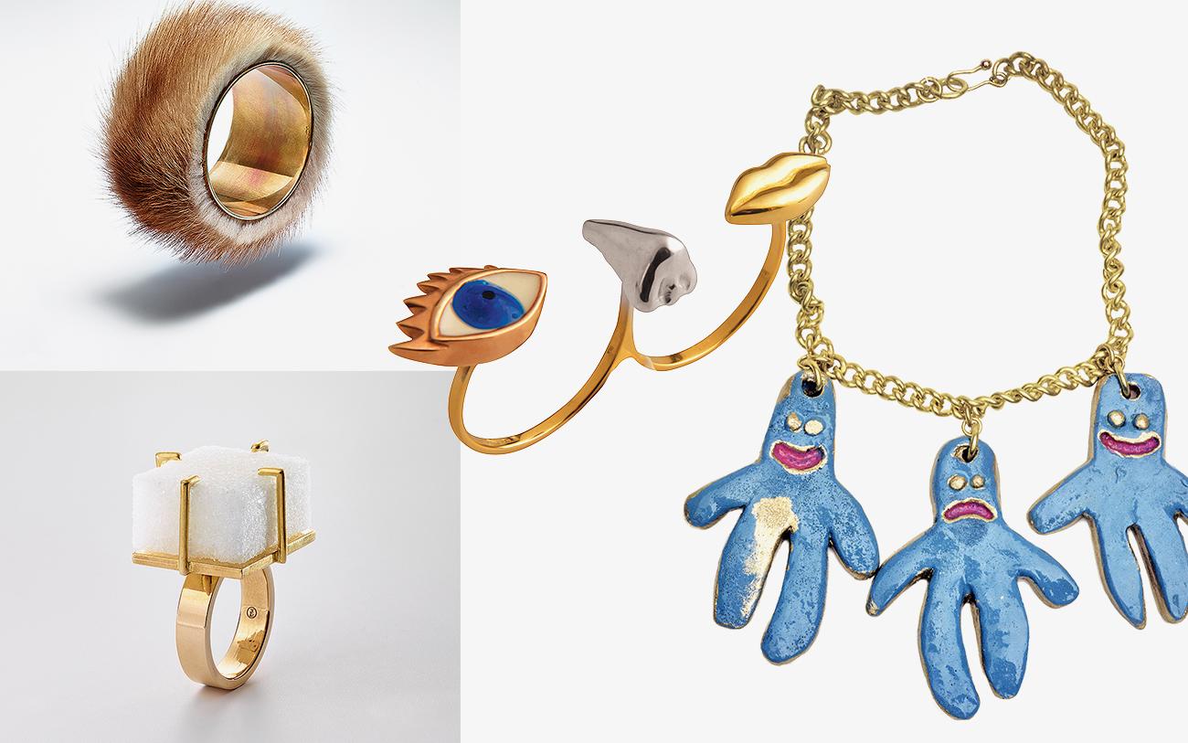 Кольцо из коллекции Anatomik, Delfina Delettrez; украшения из пластика, Билли Бой, 1985 год; Sugar Ring (1936–1937 год) и Fur Bracelet (1936 год), Мерет Оппенгейм