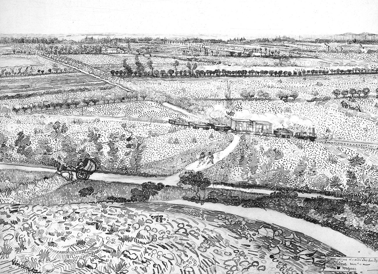 Долина Ла-Кро. Вид с Монмажура. Перо, чернила, мел. Июль 1888. 49 × 61 см