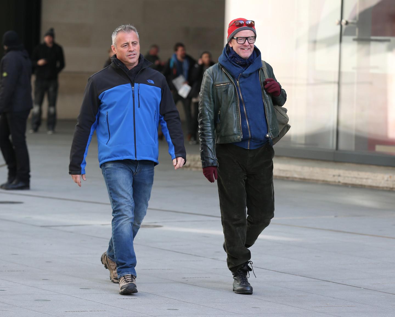 Мэтт ЛеБлан и Крис Эванс на съемках программы Top Gear