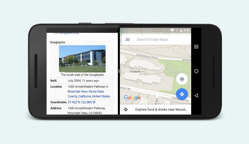 Два приложения отображаются рядом в режиме разделения экрана