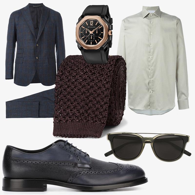 Костюм, Eleventy |Очки, Dior Homme |Рубашка, Etro |Галстук, Tom Ford |Броги, Tod's |Часы Octo Ultranero, Bulgari