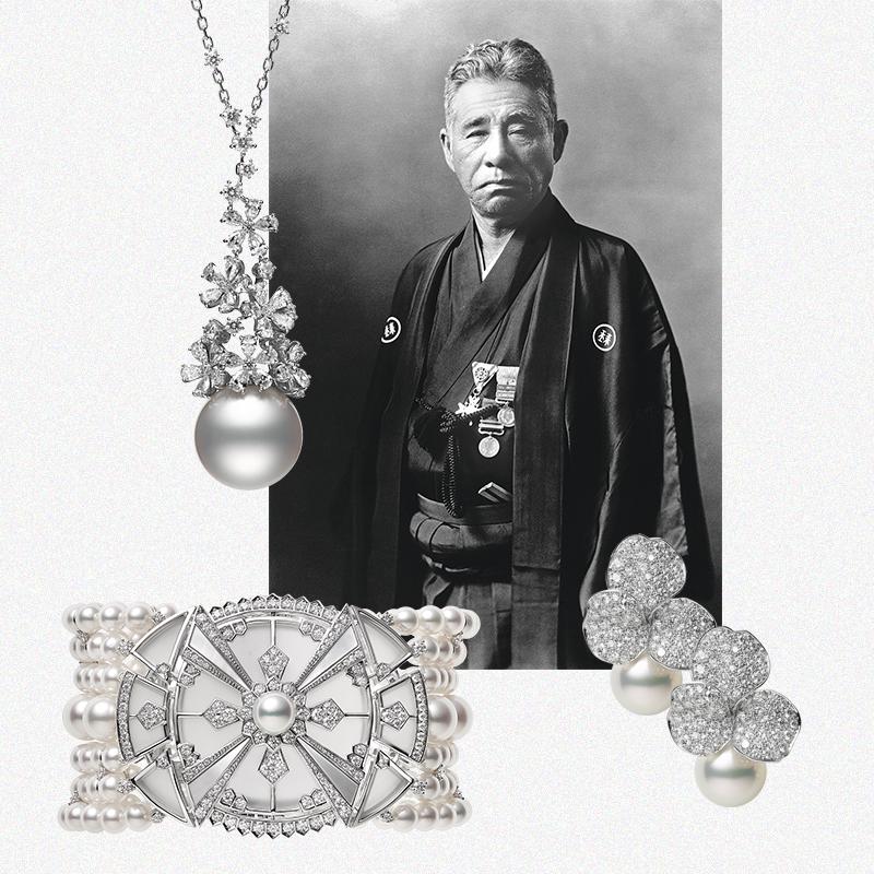 Кокити Микимото, основатель бренда Mikimoto.  Подвеска Praise To Nature, браслет Yaguruma, серьги Les Pétales Place Vendôme
