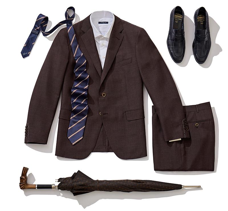 Костюм Atelier Portofino, рубашка Marol, галстук Italo Ferretti, обувь Barrett, зонт Pasotti