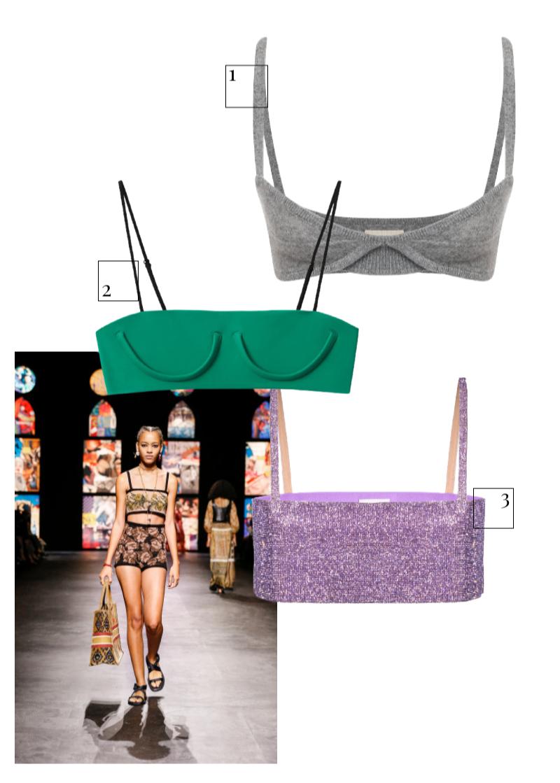 Dior, весна-лето 2021  1.Топ Khaite, 56 950 руб. (ЦУМ) 2.Топ H&M Studio, 1599 руб. (H&M) 3.Топ Nue, $446 (nue-studio.com)