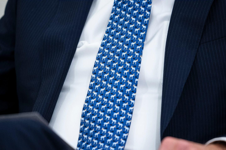 Джо Байден в галстуке с ослами на встрече с президентом Украины Владимиром Зеленским, 2021