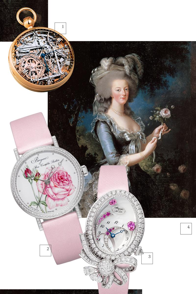 1) Карманные часы № 1160, Breguet 2) Classique Rose de la Reine, Breguet 3) Désir de la Reine Haute Joaillerie, Breguet 4) Портрет королевы Марии-Антуанетты
