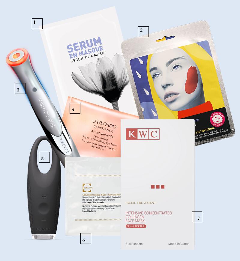 1) Маска для лица Serum in a Mask, Kenzoki 2) Маска для лица «Божественое увлажнение», Organic Shop 3) Прибор для борьбы с возрастными изменениями в области глаз на основе светотерапии Time Control, Talika 4) Патчи Benefiance, Shiseido 5) Массажер для кожи вокруг глаз Iris, Foreo 6) Маска для лица CellCollagen, CellCosmet 7) Маска для лица Intensive Concentrated Collagen Face Mask, KWC