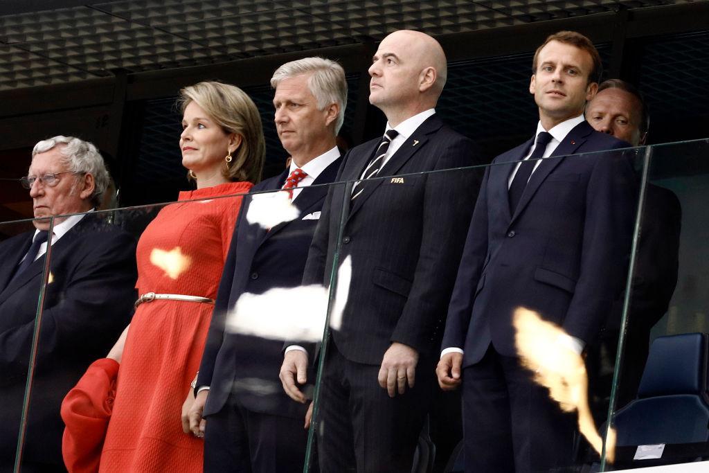 Министр иностранных дел Бельгии Дидье Рейндерс, королева Бельгии Матильда, король Бельгии Филипп, президент ФИФА Джанни Инфантино, президент Франции Эммануэль Макрон