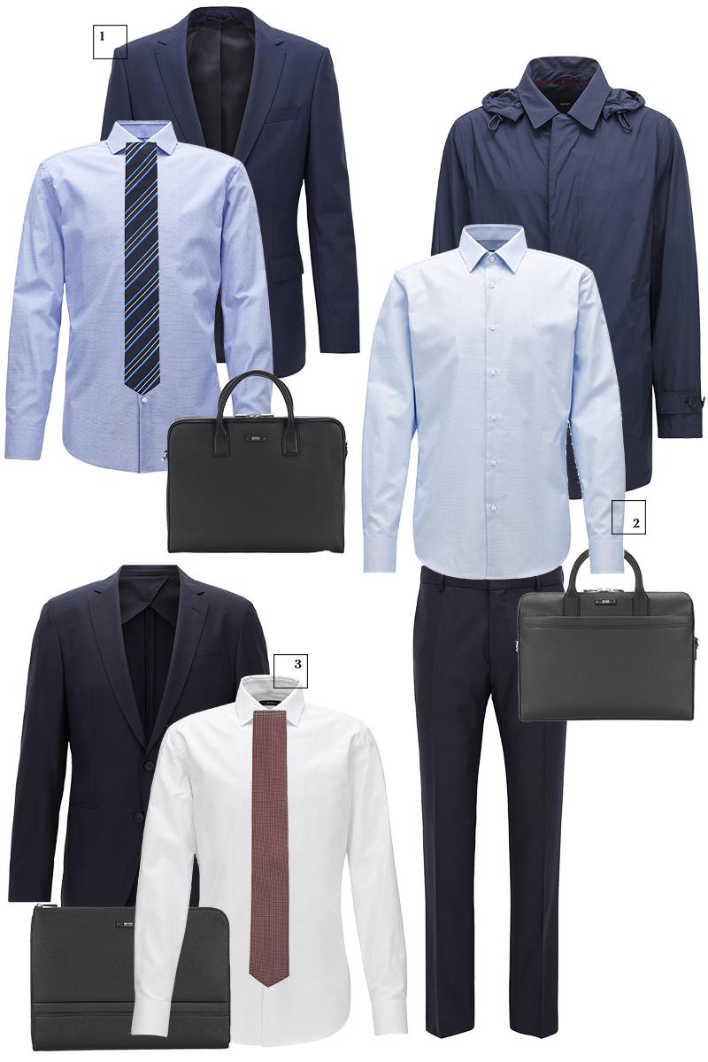 1) Пиджак, рубашка, галстук, сумка 2)Дождевик, рубашка, брюки, сумка 3)Пиджак, рубашка, галстук, папка; все Hugo Boss.