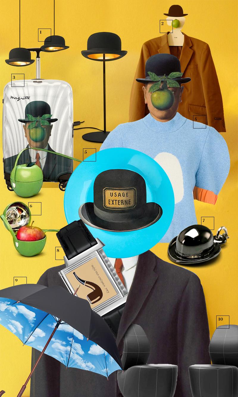 "1. Торшер и светильник Bowler Hat, Jake Phipps | 2. Вешалка, Igor ""Rogix"" Udushlivy | 3. Чемодан, Samsonite| 4. Топ, J.W.Anderson | 5. Тарелка, MoMa | 6. Клатч, Hermès | 7. Подвеска, Stephen Einhorn | 8. Часы Reverso Tribute to Rene Magritte, Jaeger-LeCoultre | 9. Зонт, MoMa | 10. Кресла, Yaroslav Rassadin"