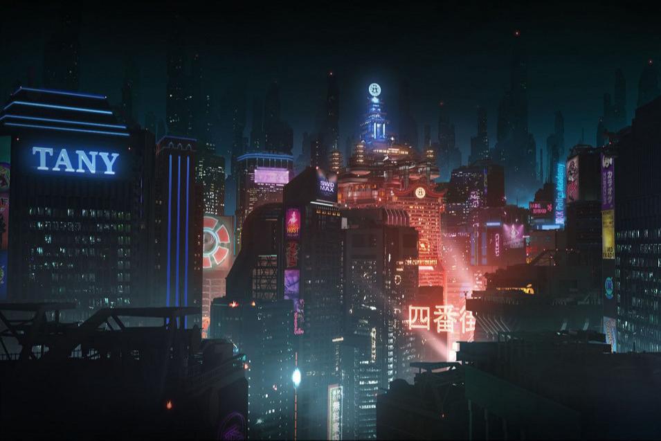 Кадр из аниме «Видоизмененный углерод: Восстановленный»