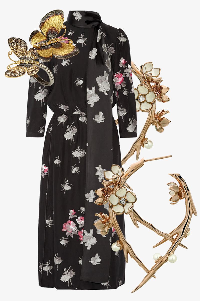 Платье, Marc Jacobs (net-a-porter) Серьги Cherry Blossom, Shaun Leane Кольцо, Annoushka