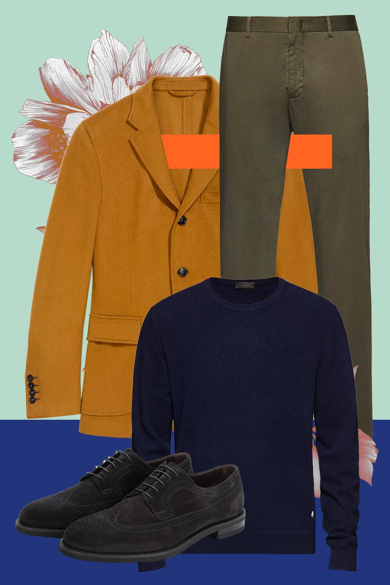 Блейзер, замшевые дерби, все — Ermenegildo Zegna; чиносы, кашемировый свитер, все — Z Zegna
