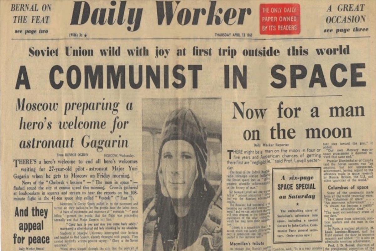 Первая полоса газеты Daily Worker от 13 апреля 1961