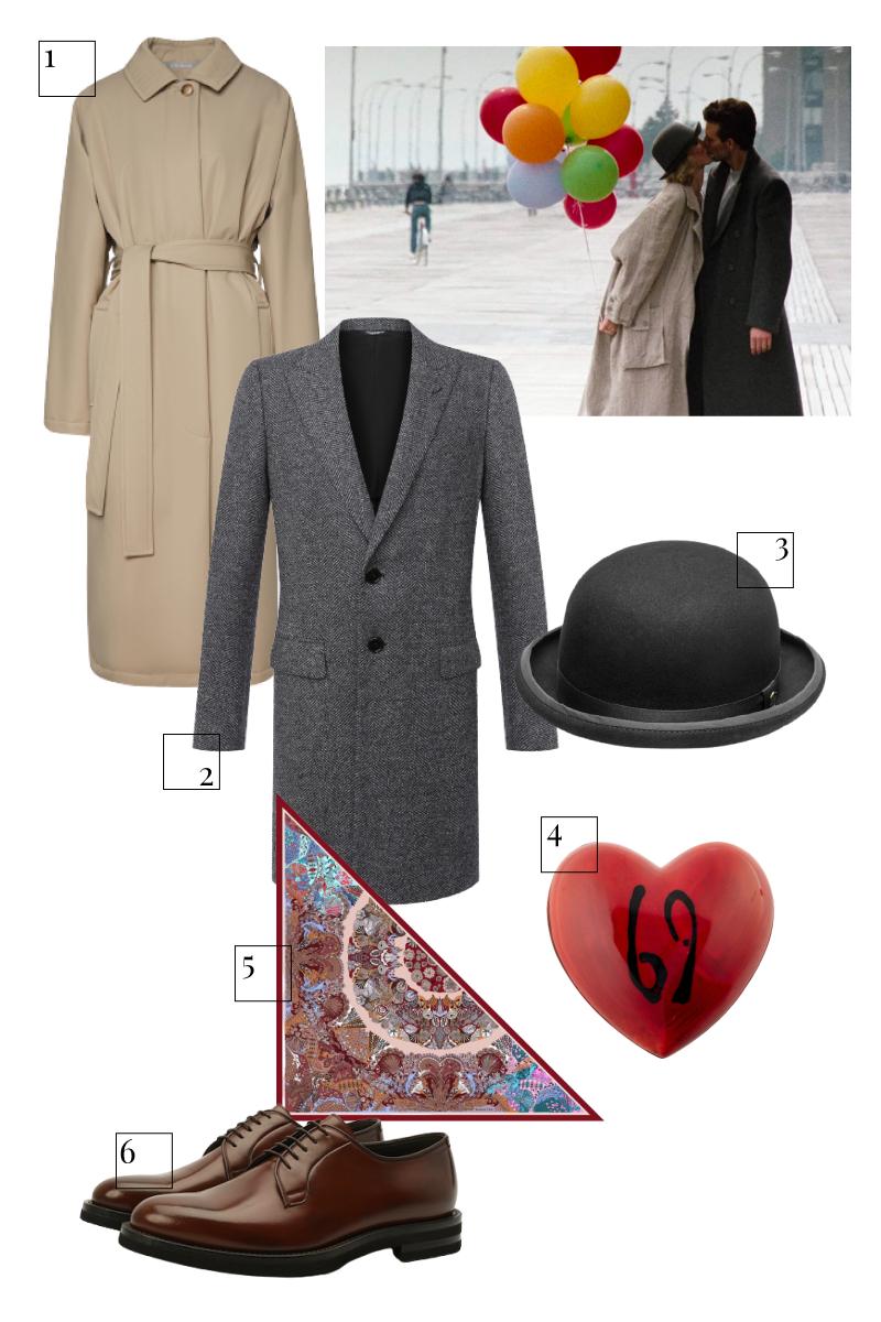1. Плащ 12storeez, 17980 руб. (12storeez) 2. Пальто Dolce & Gabbana, 197000 руб. («Барвиха Luxury Village») 3. Шляпа Hatfield, 9500 руб. (hatfield.ru) 4. Шоколад Patrick Roger, 6700 руб. (Patrick Roger) 5. Шаль Radical Chic, 11900 руб. (Radical Chic) 6. Дерби Brunello Cucinelli, 78550 руб. (ЦУМ)