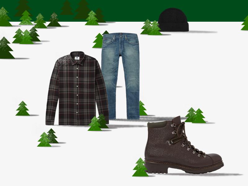 Шапка-бини Johnstons of Elgin, фланелевая рубашка NN07, джинсы Polo Ralph Lauren, ботинки O'Keefee. Все — mrporter.com.
