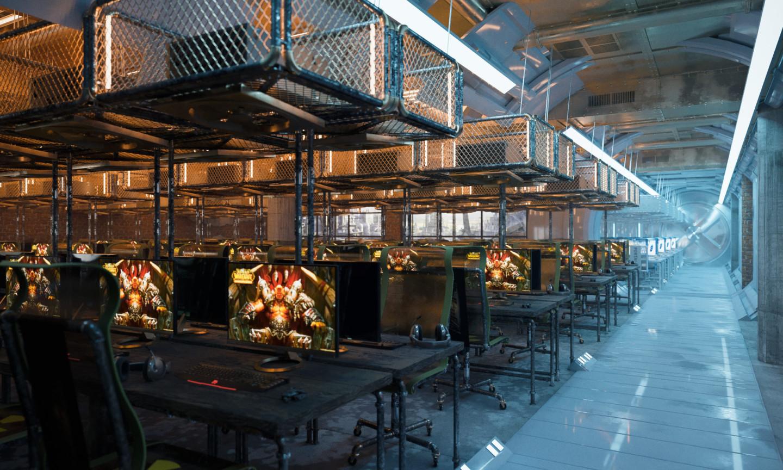 Компьютерный клуб Cyber Loft на первом этаже Yota Arena