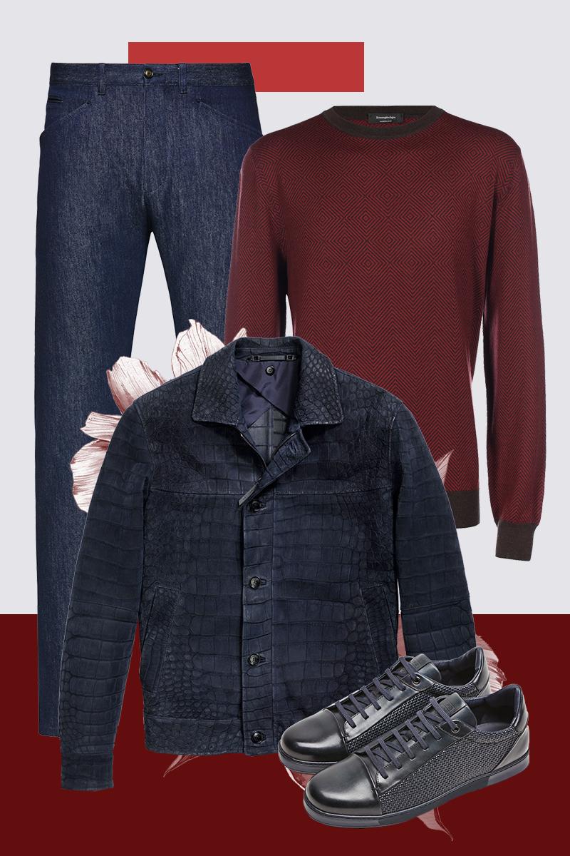 Куртка из крокодила, джинсы, свитер из кашемира и шелка, кеды, все — Ermenegildo Zegna