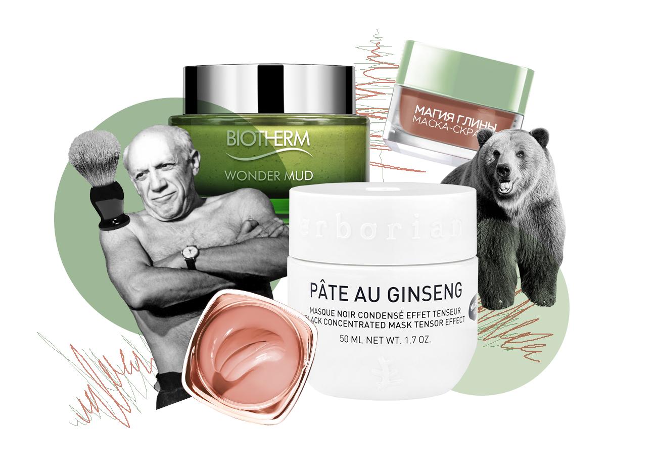 Лифтинг-маска с экстрактом женьшеня Pâte au Ginseng, Erborian Отшелушивающая маска-скраб «Магия глины», L'Oréal Paris Очищающая маска для лица Skin Best Wonder Mud, Biotherm