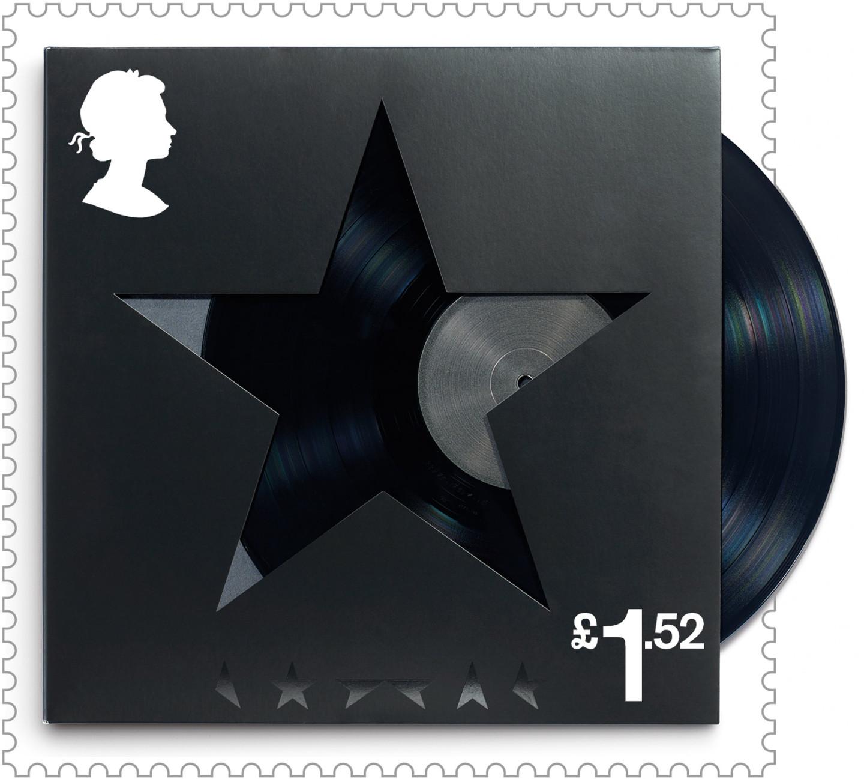 Марка с обложкой последнего альбома Дэвида Боуи «Blackstar»