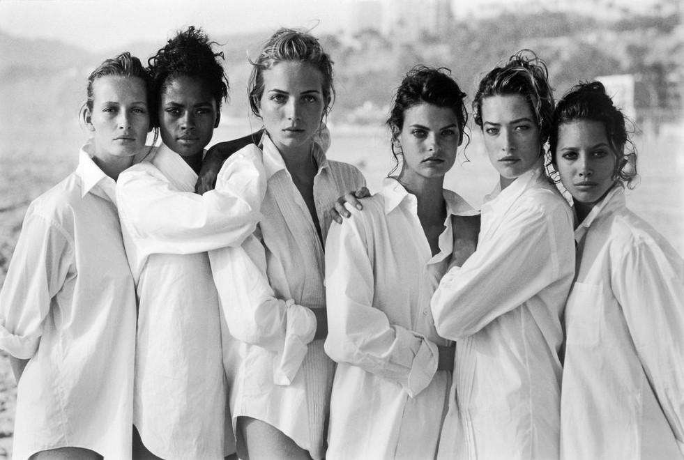 Эстель Лефебюр, Карен Александр, Рэйчел Уильямс, Линда Евангелиста, Татьяна Патиц, Кристи Тарлингтон. Фотография для обложки журнала Vogue, США, Калифорния, 1988