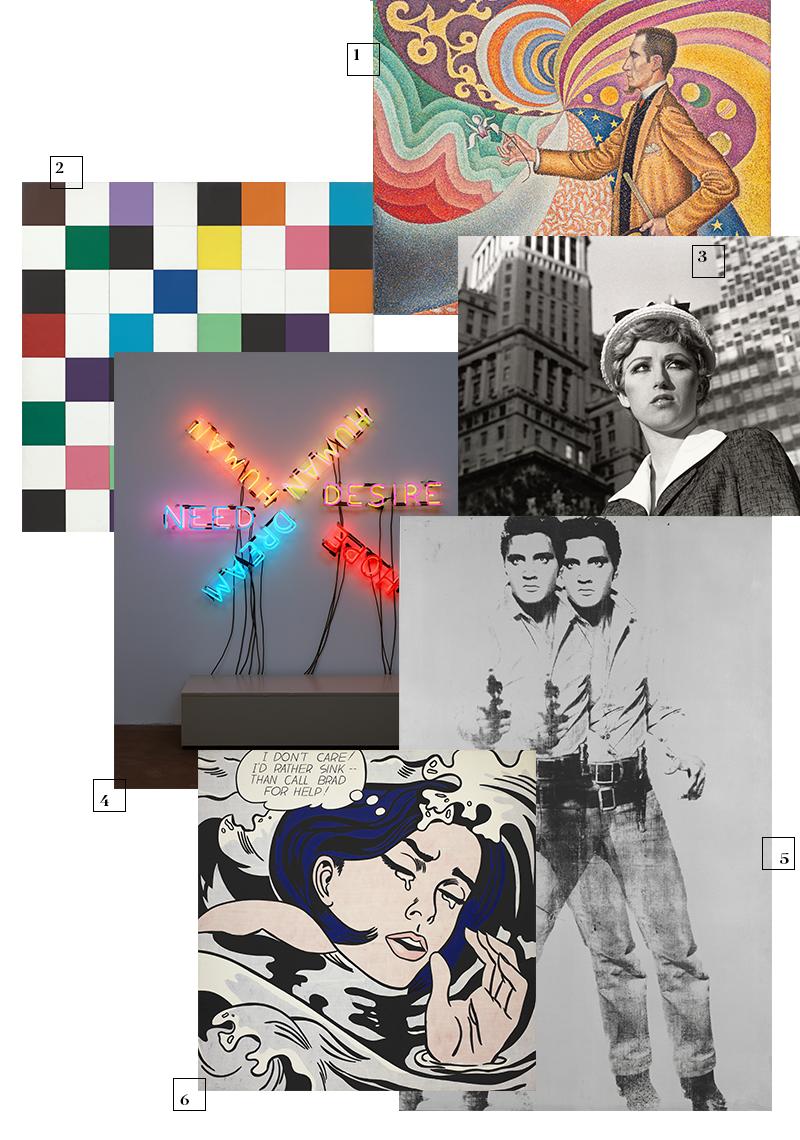 1 | Поль Синьяк, Opus 217. Portrait of M. Félix Fénéon, 1890 год 2 | Элсворт Келли, Colors for a Large Wall, 1953 год 3 | Синди Шерман, Untitled Film Still #17, 1978 год 4 | Брюс Науман, Human/Need/Desire, 1983 год 5 | Энди Уорхол, Double Elvis, 1963 год 6 | Рой Лихтенштейн, Drowning Girl, 1963 год