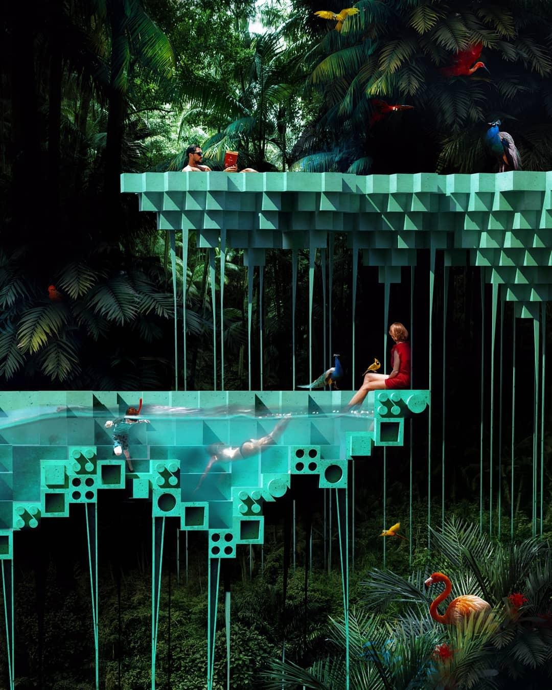 Многоуровневый бассейн в тропическом лесу