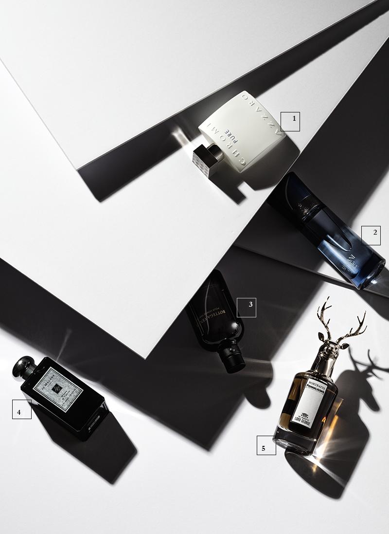 1 | Chrome Pure, Azzaro  2 | Armani Code Colonia, Giorgio Armani  3 | Pour Homme Parfum, Bottega Veneta  4 | Myrrh & Tonka, Jo Malone  5 | The Tragedy of Lord George, Penhaligon's