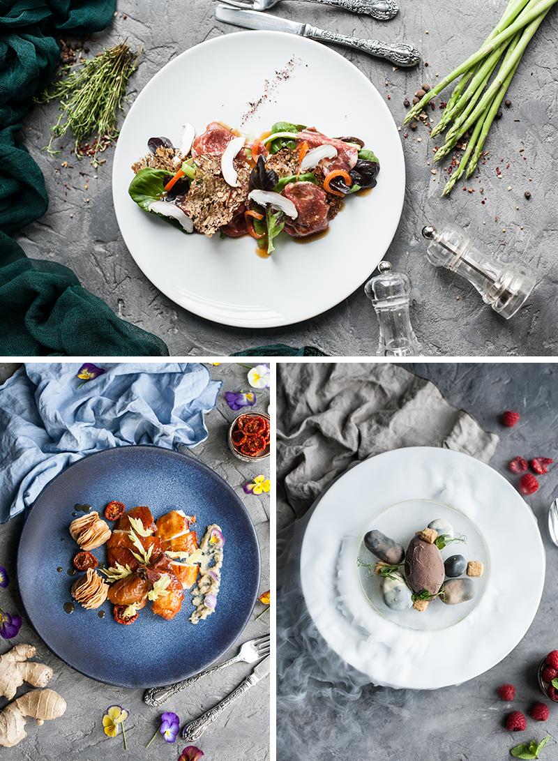Теплый салат с мраморной говядиной и спаржей-гриль. Хрустящая курица с имбирным соусом. Шоколадно-малиновый мусс с голубикой.