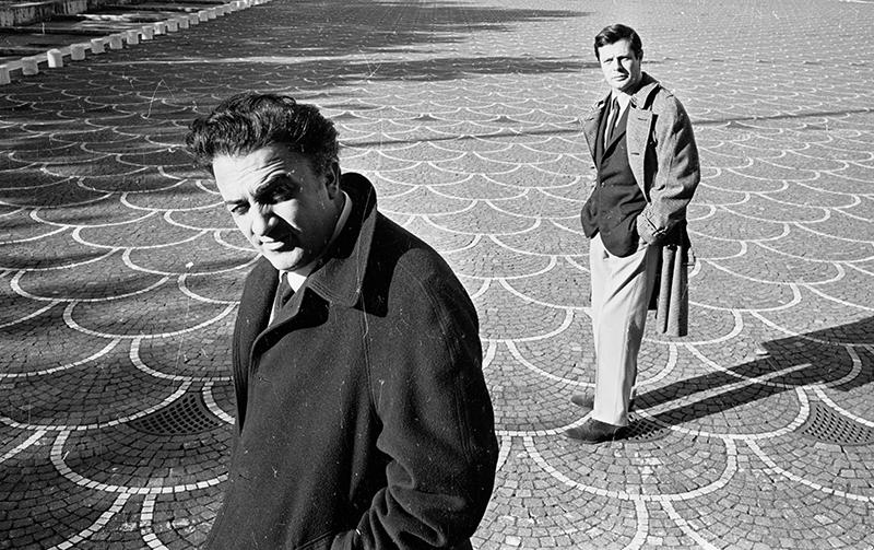 Федерико Феллини и Марчелло Мастроянни в Риме, 1962