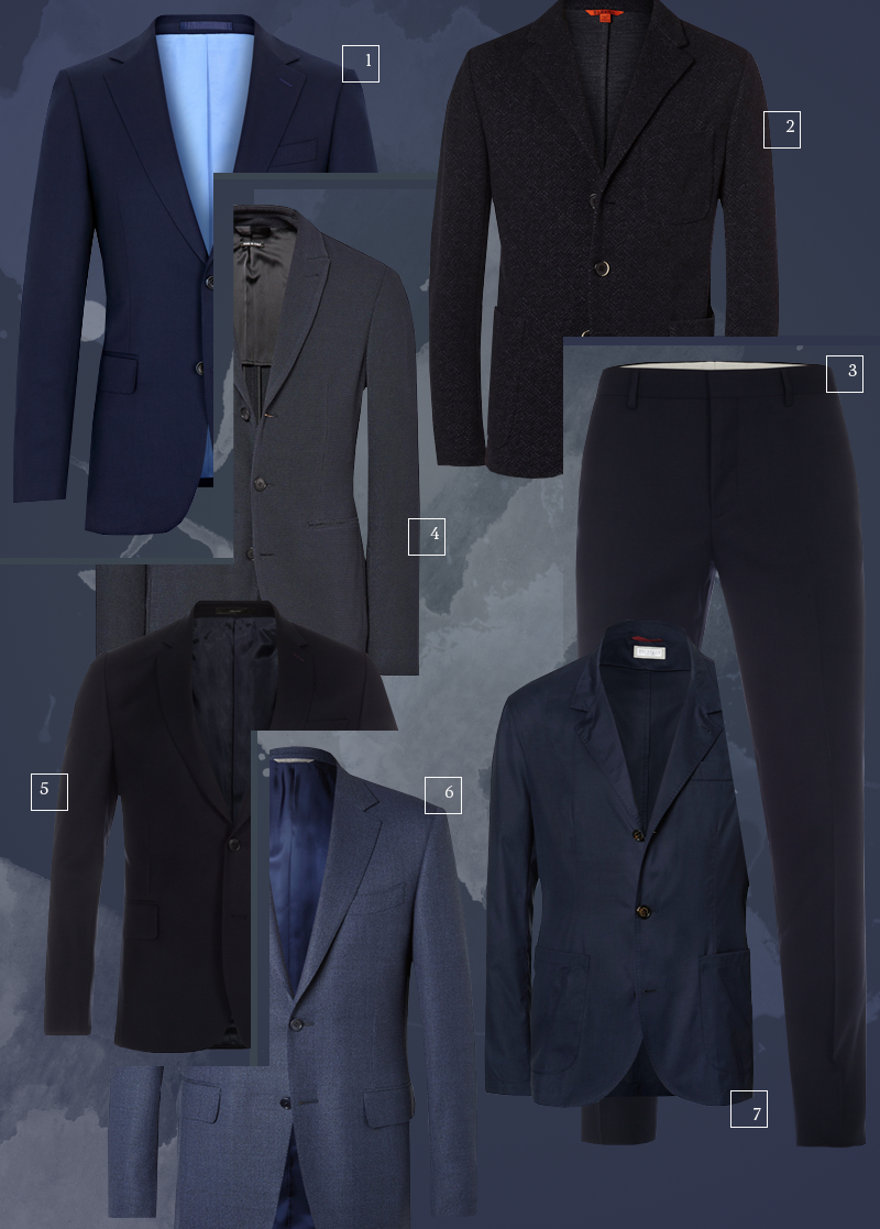 1 | Albione; 2 | Barena; 3 | Paul Smith; 4 | Giorgio Armani; 5 | Paul Smith; 6 | Canali; 7 | Brunello Cucinelli