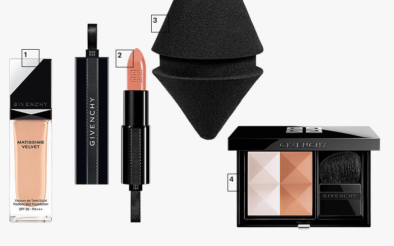 1| Тональный крем Matissime Velvet, Givenchy 2| Помада Rouge Interdit, Givenchy 3| Спонж Givenchy Makeup Blender,Givenchy 4|Румяна Prisme Blush,Givenchy