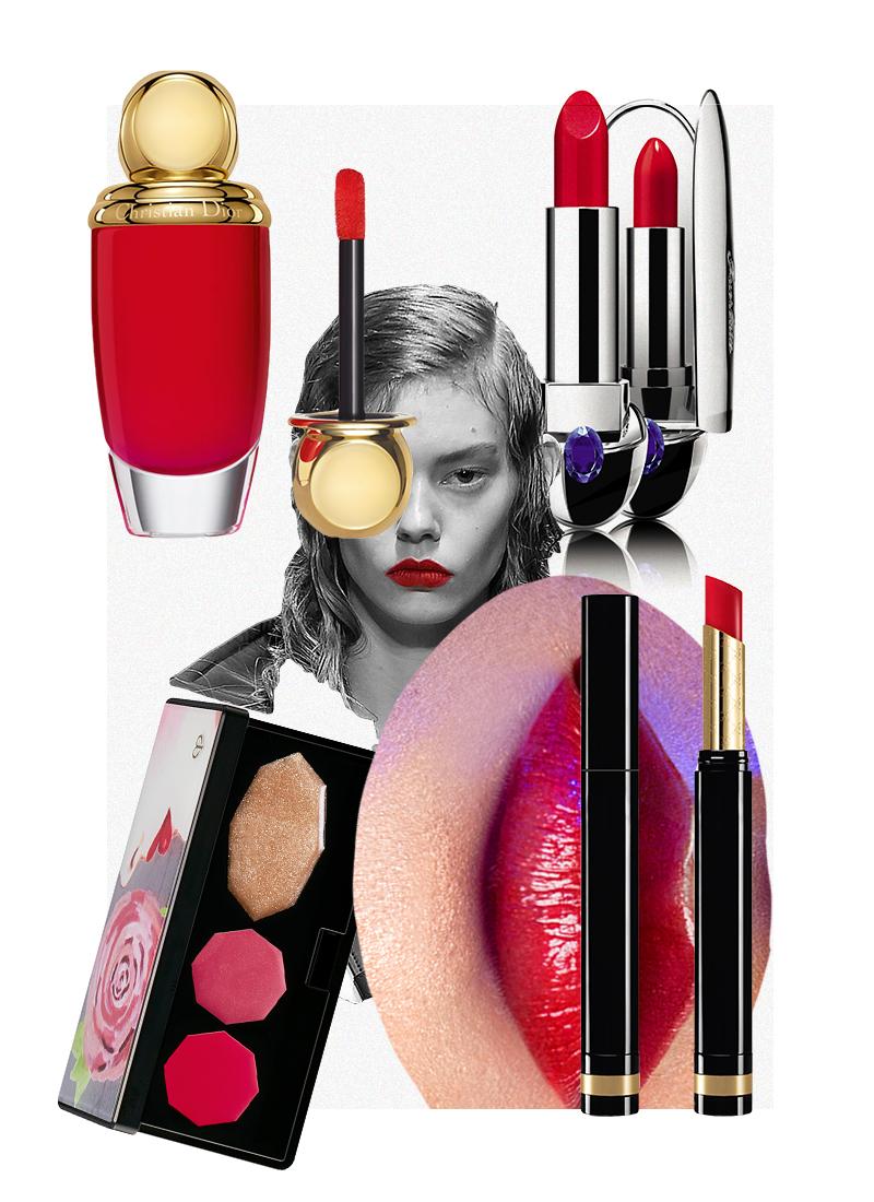 Помада Sensuous Deep-Matte Lipstick (оттенок 300), Gucci Помада Rouge G de Guerlain (оттенок 821), Guerlain Палитра для макияжа губ Lip Color Palette (оттенок 1), Clé de Peau Beauté Матовый флюид для губ и щек Diorific Matte Fluid, Dior