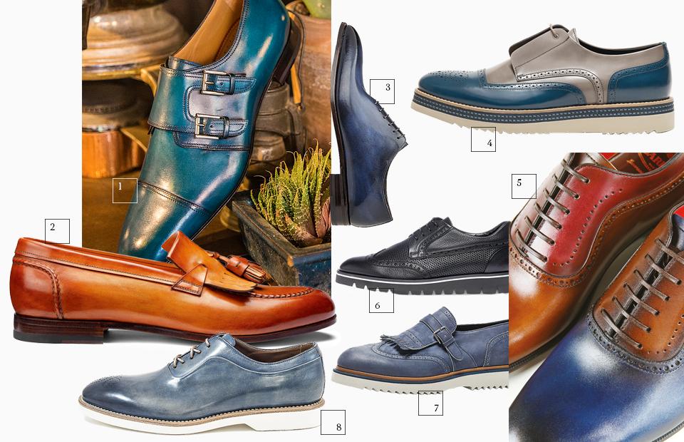 Очевидный плюс ботинок, окрашенных вручную, — красивые переходы цвета на коже. Это также является гарантией того, что на обувной мануфактуре серьезно относятся к своему делу: чтобы научиться правильно окрашивать ботинки, мастеру требуется несколько лет постоянной тренировки и «художественный» глаз.  1 | Christian Louboutin 2 | Moreschi 3 | Santoni  Такая обувь из цветной кожи свидетельствует о творческой натуре своего владельца. Правда, сочетать подобным образом цвета в одежде все же стоит очень аккуратно.  4 | Alberto Guardiani 5 | Barrett  Летнюю обувь часто выпускают на облегченной подошве — она бывает как темного цвета, так и светлого. Последняя тяжело уживается с классическими костюмами.  6 | Baldinini 7 |Alberto Guardiani 8 | Franceschetti