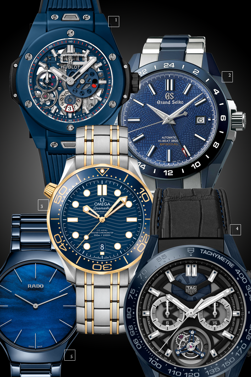 1. Big Bang Meca-10 Blue, Hublot 2. Blue Ceramic Hi-Beat GMT 'Special' Limited Edition, Grand Seiko 3. Seamaster Diver 300 m, Omega 4. TAG Heuer Carrera Tete de Vipere, TAG Heuer 5. True thinline, Rado