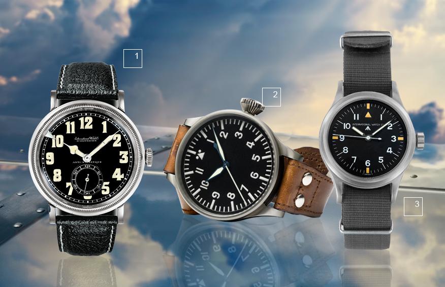 1) Первые часы Special Watch for Pilots, 1936, модель Big Pilot's Watch 2) IWC Big Pilot's Watch, 1940 3) Модель Pilot's Wristwatch Mark 11 with nato strap, 1948