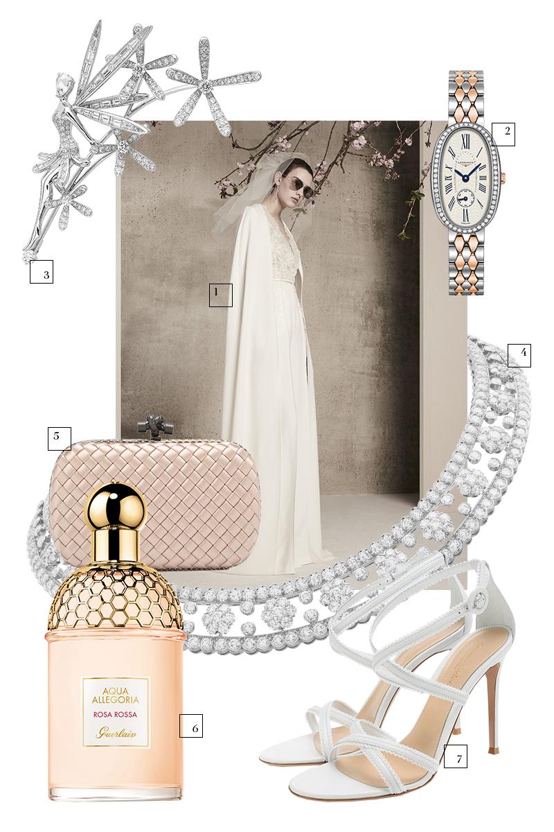 1. Платье Elie Saab Bridal (Wedding by Mercury, Барвиха Luxury Village) — цена по запросу  2. Часы Symphonette, Longines (ул. Большая Якиманка, 19) — ₽ 270 900  3.Брошь Caresse d'Eole Fairy, коллекция Midsummer Night's Dream,Van Cleef & Arpels (ГУМ) — цена по запросу  4. Колье Snowflake, Van Cleef & Arpels (ГУМ) — ₽ 26 600 000  5. Клатч Chain Knot, Bottega Veneta (ЦУМ, Третьяковскийпроезд) — ₽ 139 500  6. Туалетная водаAqua Allegoria Rosa Rossa,Guerlain (Л'Этуаль) — ₽ 5399  7. Босоножки Dafne, Gianvito Rossi (ЦУМ) — ₽ 54 650