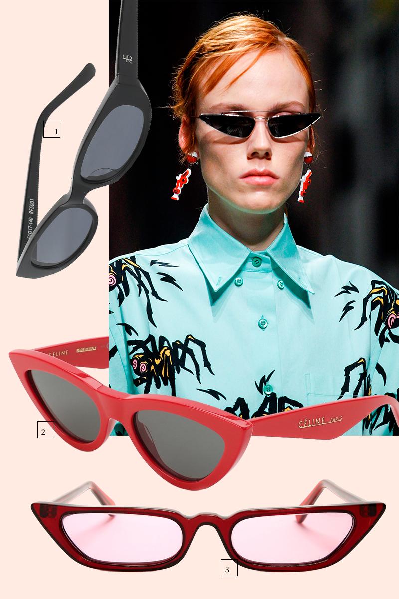 1.Roberi & Fraud (ЦУМ), 17 150 руб.  2.Céline Eyewear(Третьяковский проезд), 23 200 руб.  3.Haight (Matches Fashion),16 865 руб.  Модель с показа Prada