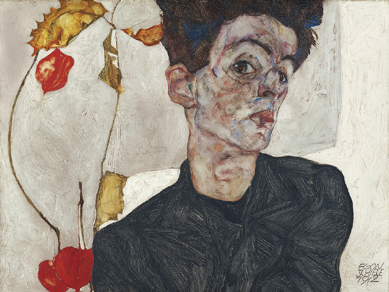 Эгон Шиле,«Автопортретс физалисом»,1912 год