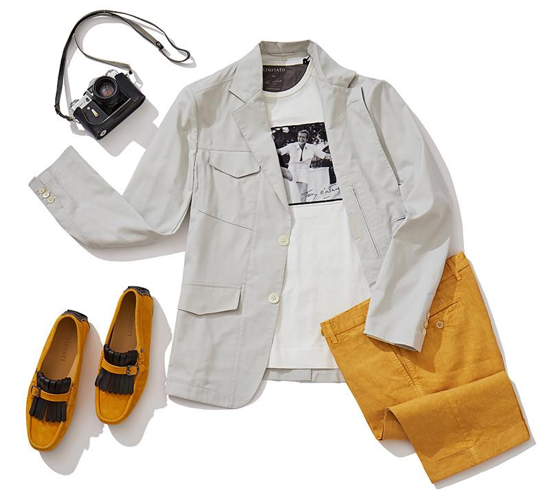 Пиджак и шорты Atelier Portofino, футболка Limitato, мокасины Blu Barrett