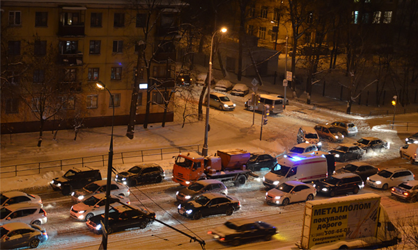Сервис «Яндекс.Пробки» рассказал, когда снег осложнит движение в Москве