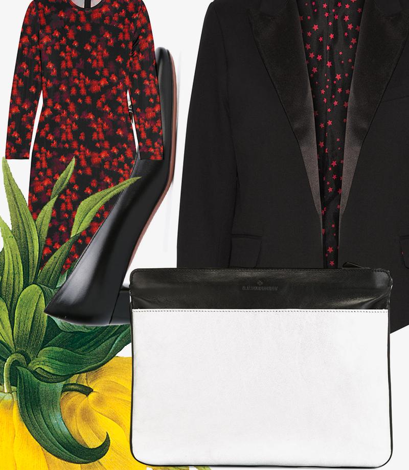 Платье, Givenchy |Жакет, Kate Moss for Equipment |Клатч, A.F. Vandevorst |Туфли, Bally